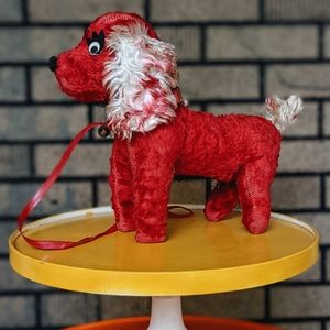 Vintage 1940s Red Puppy Dog Stuffed Toy Leash Bell